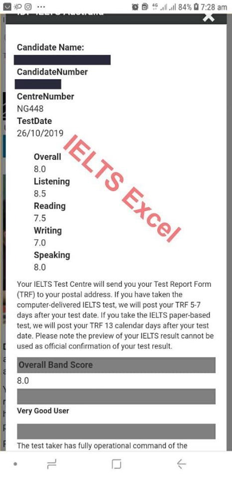 sample ielts past results