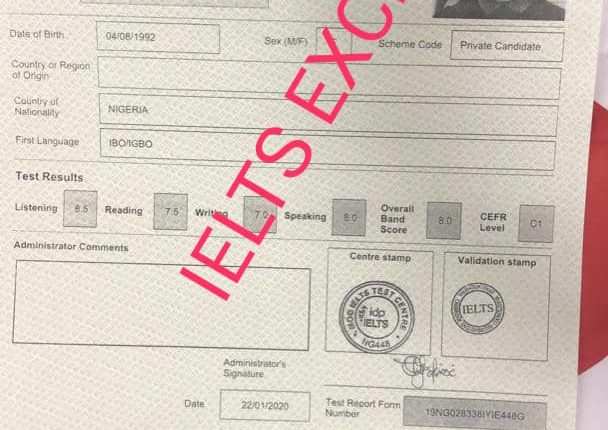 ielts past results of bivent students-sample results